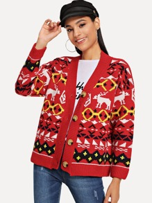Christmas Geo And Deer Pattern Coat