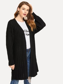 Solid Ribbed Long Cardigan