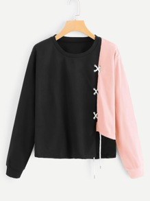 Lace Up Cut And Sew Sweatshirt