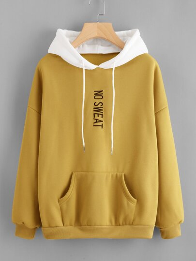 Letter Embroidered Kangaroo Pocket Hoodie