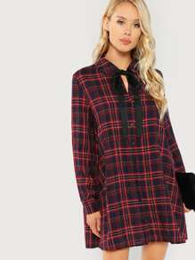 Tie Neck Plaid Shirt Dress