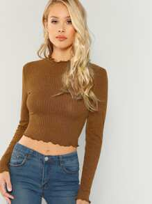 Lettuce Trim Solid Crop Top