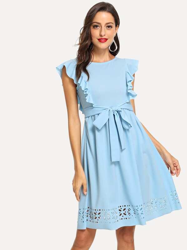 03537788e7c Flounce Trim Laser Cut Out Hem Dress