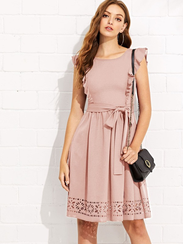 cbd0e3ef0bf Cheap Flounce Trim Laser Cut Out Hem Dress for sale Australia