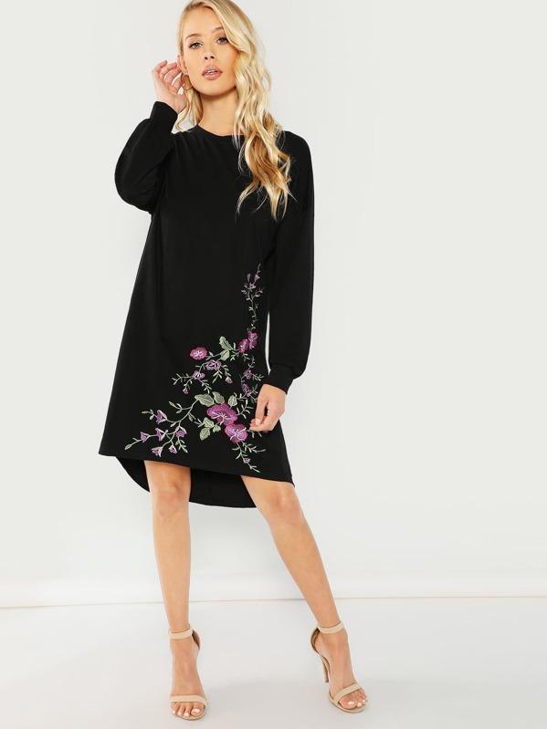 2a64954b5d Flower Embroidered Dress   SHEIN