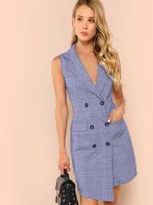 Double Breasted Glen Plaid Vest Dress