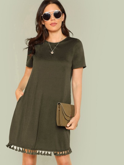Tassel Hem Side Pocket Tee Dress