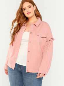 Plus Frill Trim Button Up Jacket