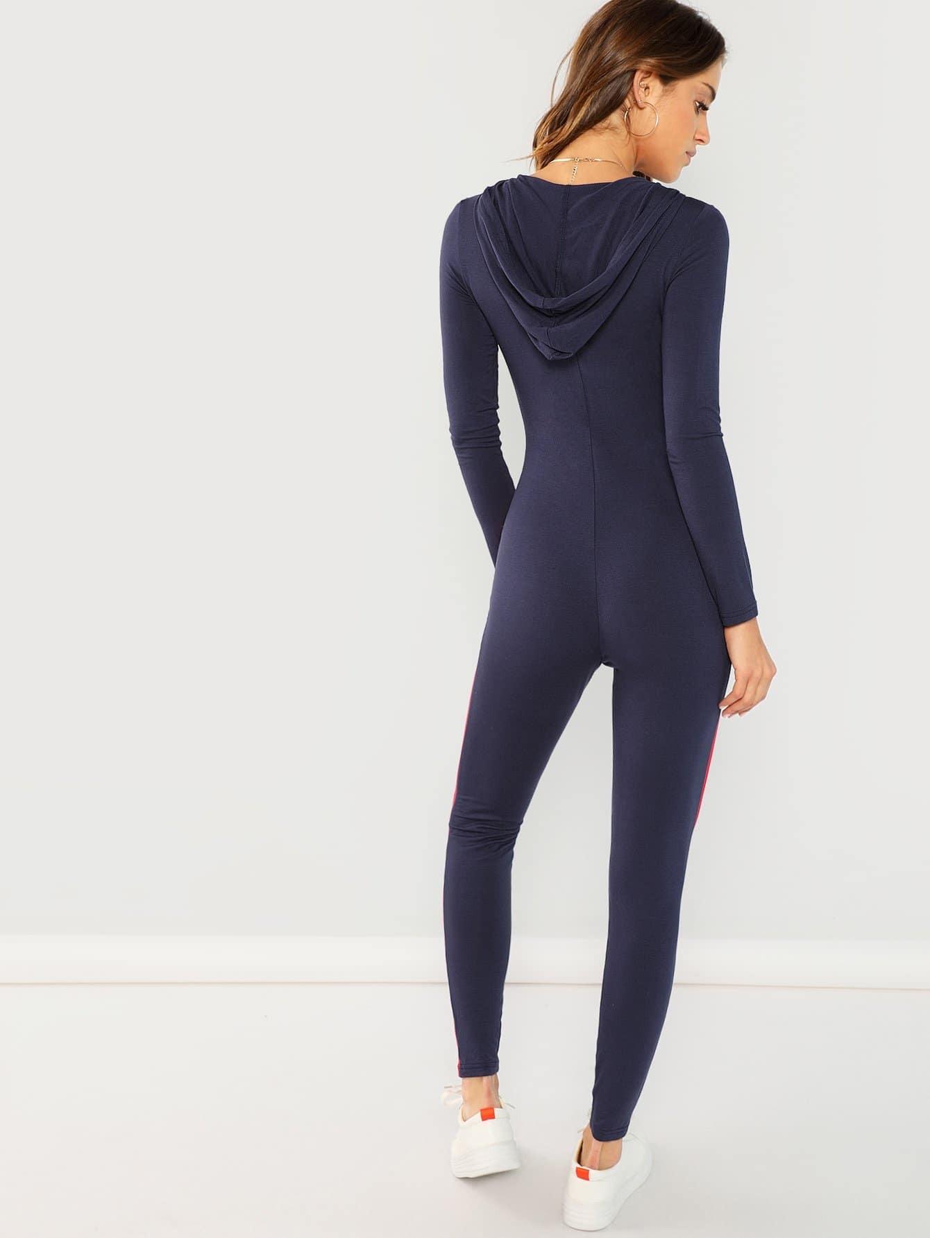 81a1ffa228de Zipper Front Striped Jumpsuit -SheIn(Sheinside)