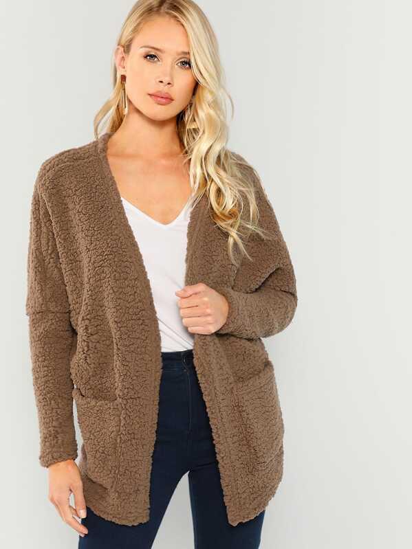 4c48357481 Faux Fur Open Front Teddy Coat   SHEIN