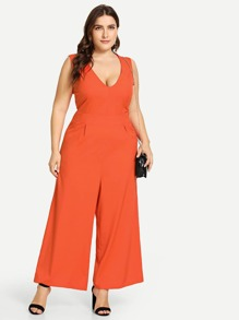 Neon Orange Plus V-Neck Wide Leg Sleeveless Jumpsuit