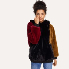Color Black Hoodie Faux Fur Coat