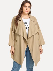 Plus Shawl Collar Solid Coat