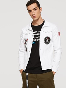 Men Embroidery Patched Denim Jacket