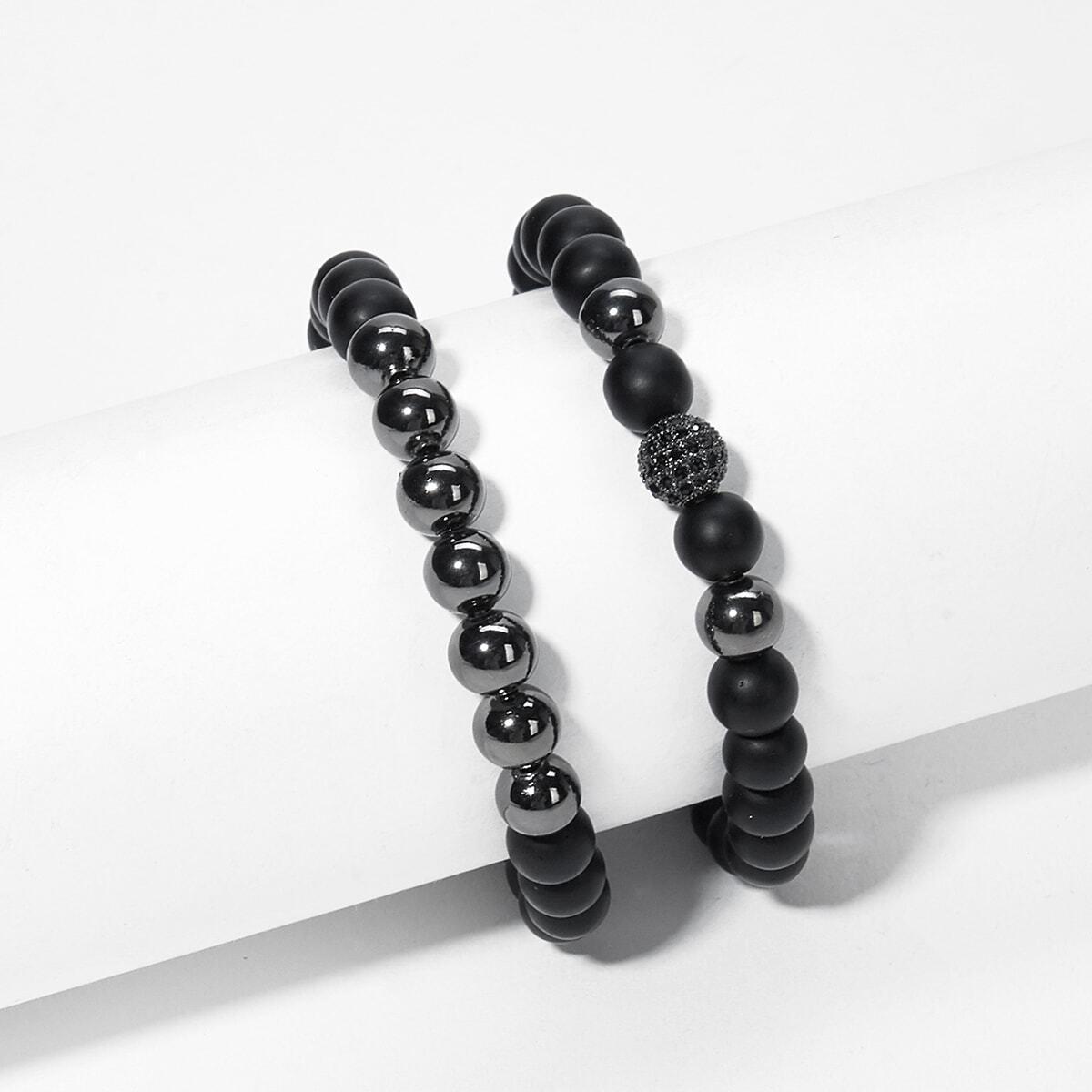 Мужский комплект контрастного браслета бисера 2 шт от SHEIN