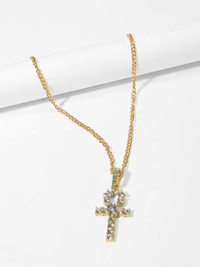 Guys Cross Pendant Chain Necklace