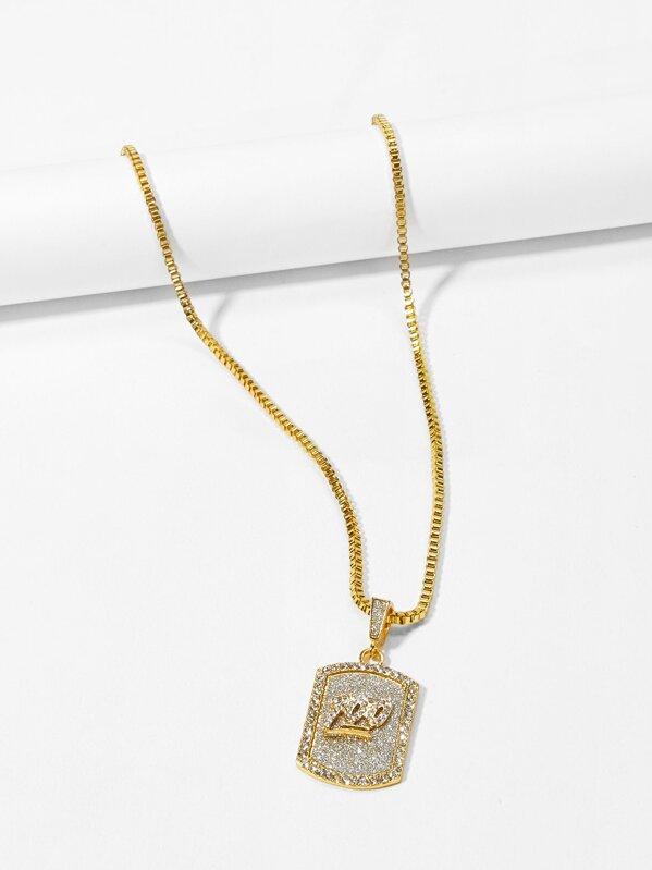 52579903c6 Men Figure Engraved Pendant Necklace   SHEIN UK