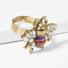 Faux Pearl Detail Insect Ring 1pc