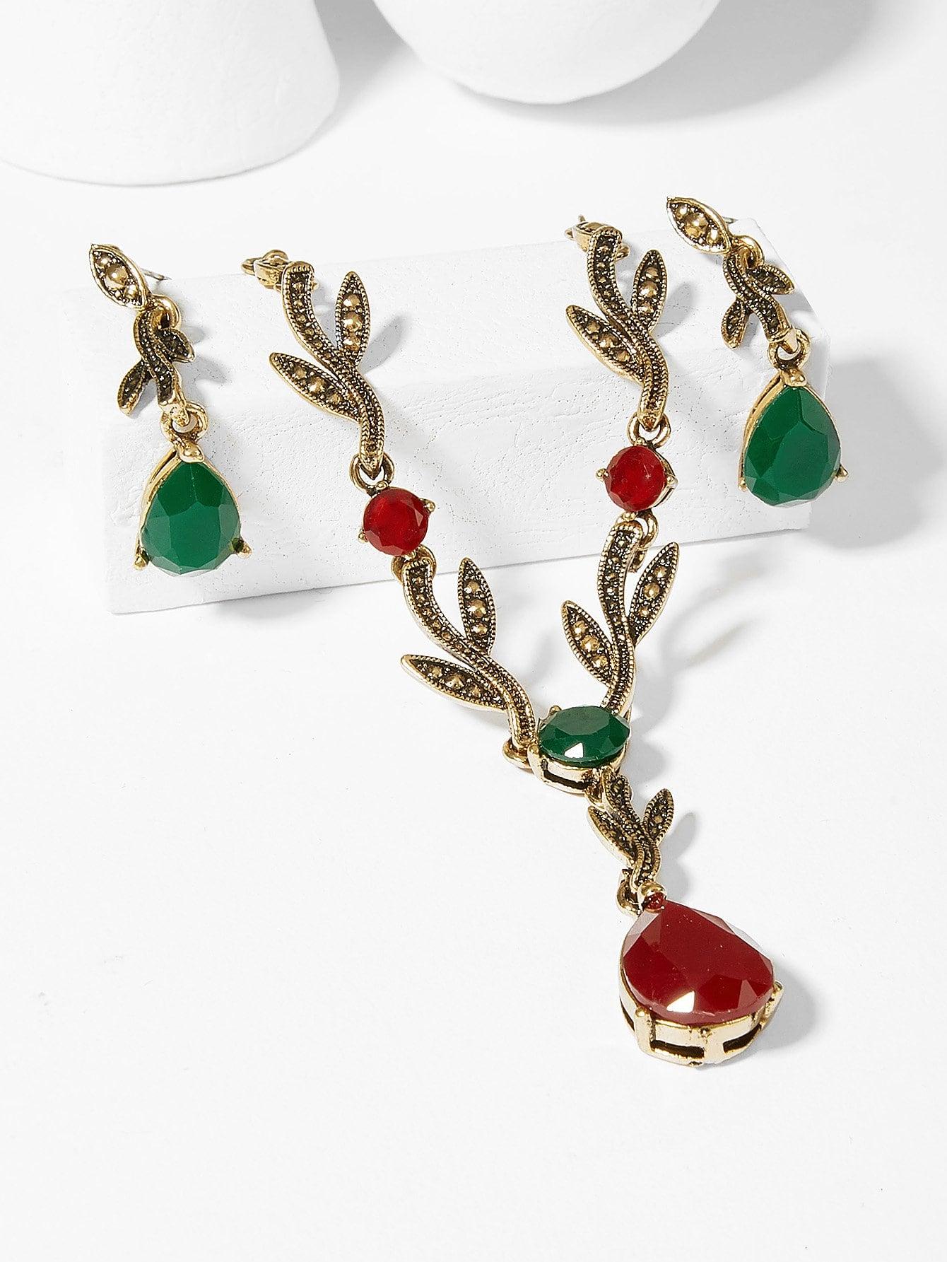 Leaf Gemstone Necklace & Earrings