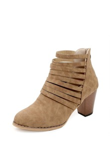Strappy Cork Heeled Boots