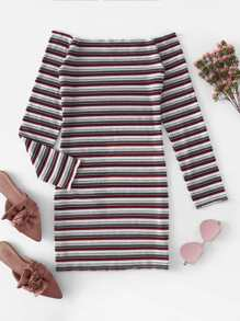 Off-Shoulder Ribbed Stripe Dress