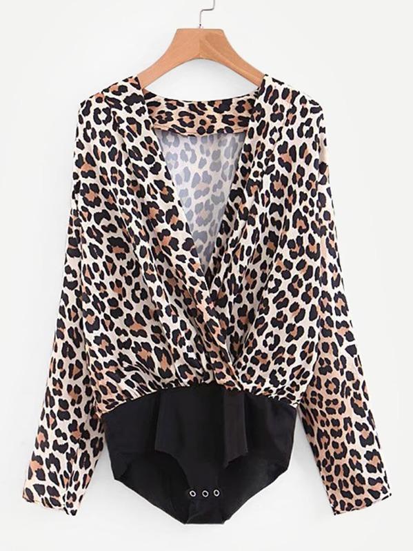 Leopard Print Surplice Blouse Bodysuit  4697fe19d