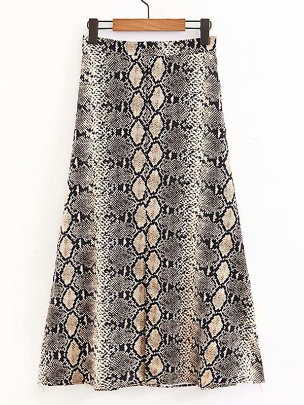 14ce2d9eec Snakeskin Print Split Hem Skirt   SHEIN UK