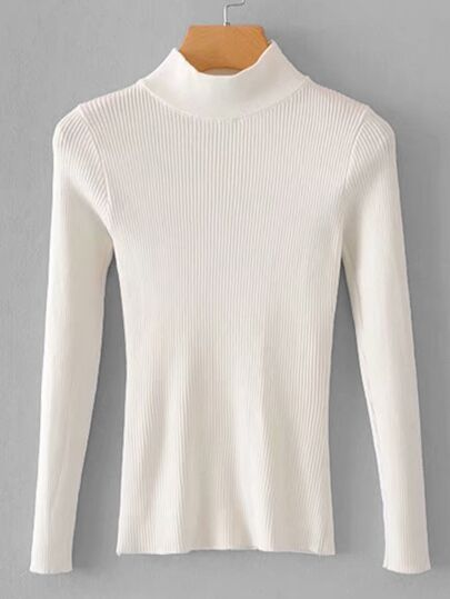 Solid Mock Neck Ribbed Sweater
