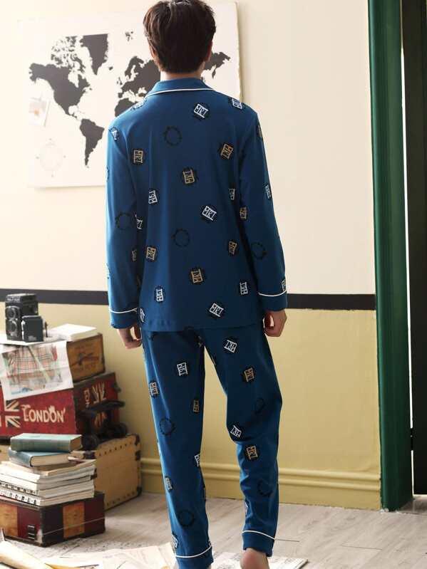 7aff6936e5 Completo pigiama da uomo con stampa cartoni animati con bottone