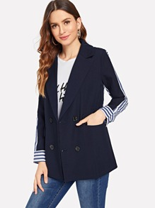 Contrast Striped Double Breasted Blazer