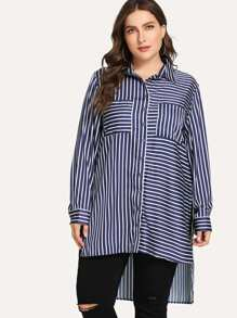 Plus High Low Striped Blouse