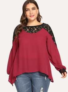 Plus Contrast Lace Blouse