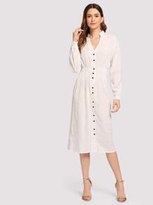 Solid Single Breasted Shirt Dress