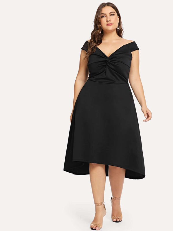 6be301c74c3 Plus Solid High Low Dress | SHEIN UK