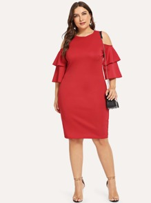 Plus Solid Layered Sleeve Dress