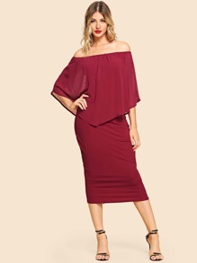 Solid Split Back Off The Shoulder Dress