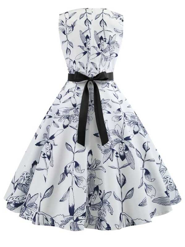92fc64b211 Ribbon Tie Fit and Flare Floral Dress | SHEIN