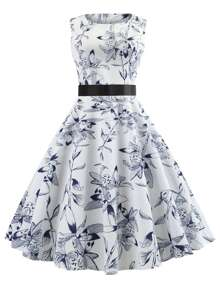 Ribbon Tie Fit and Flare Floral Dress
