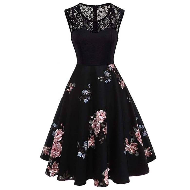 Расклешенное Платье С Цветочным Принтом И Кружевной Вставкой