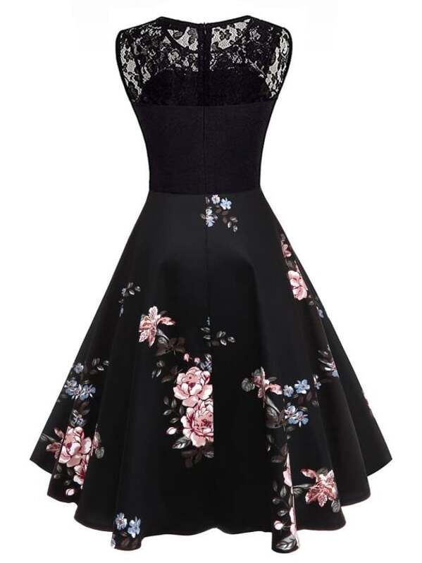 8fe5f356a0 Lace Yoke Floral Flare Dress | SHEIN