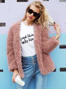 Solid Shearling Teddy Coat