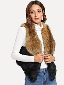 Color-Block Faux Fur Vest