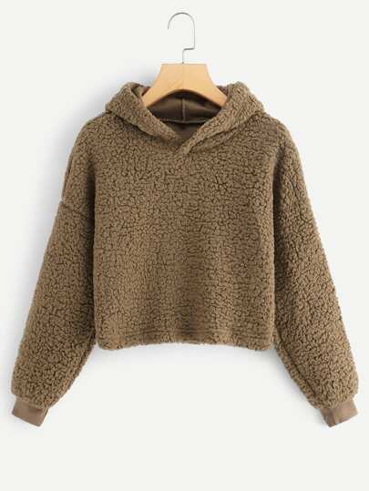 41859e933e Solid Hooded Teddy Sweatshirt
