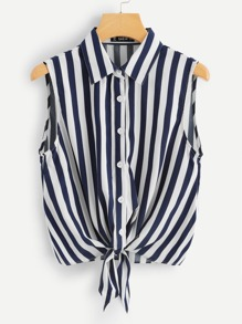 Button Front Striped Shell Top