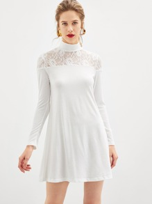 Sheer Lace Yoke Tee Dress