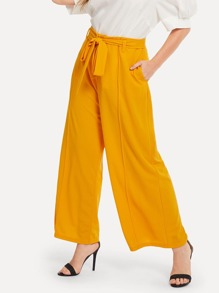 Plus Self Belted Palazzo Leg Pants