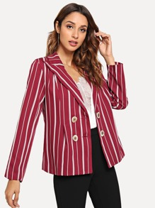Double Button Striped Blazers