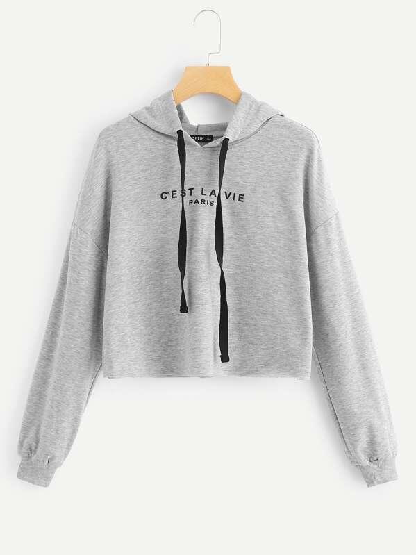 67a59ce6062 Drop Shoulder Drawstring Hoodie Crop Sweatshirt