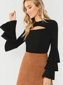 Cut Out Tiered Sleeve Top
