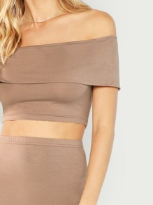a63174315 Bandeau Off Shoulder Crop Top & Bodycon Skirt Set   SHEIN